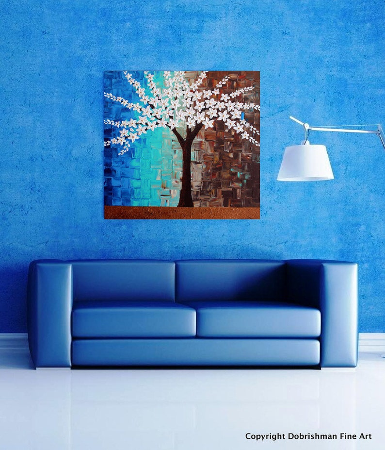 Magnolia Tree Painting Steel Magnolias White Abstract Tree Etsy