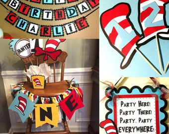 Cat in the Hat Dr. Suess Inspired Birthday Party Package