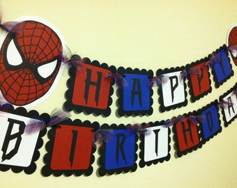 Spiderman Inspired Happy Birthday Banner
