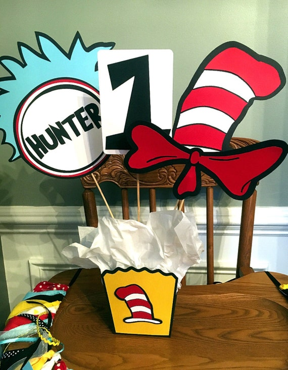 Cat In The Hat Dr Suess Inspired Birthday Centerpiece Or Etsy