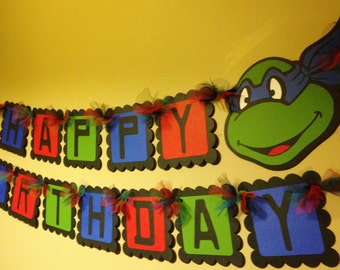 Ninja Turtles Inspired Happy Birthday Banner