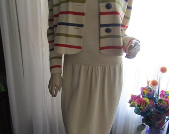 39251a8ae3ee Vintage Knit Ladies Beige Sleeveless DRESS and Striped Waist JACKET by St  John Marie Gray--Size 6