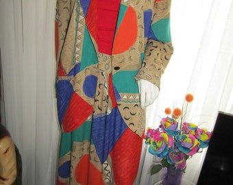 Vintage 1980s Pretty Asian-Inspired Two-Piece Satin Patchwork Set from Dorothy Schoelen