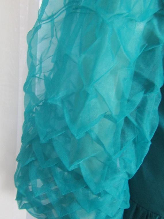 Vintage Turquoise Blue Big PUFF SLEEVE Semi-Fitte… - image 5