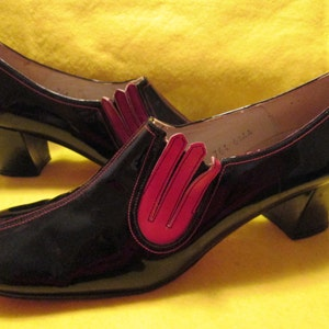1940/'s Ladies BLACK Leather Chunk Heel Tie Up OXFORD-SHOES by Drew With Good Year Heel
