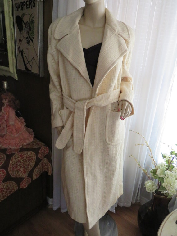 1960's Ladies CREAM Wool/Rayon Long Belted COAT By