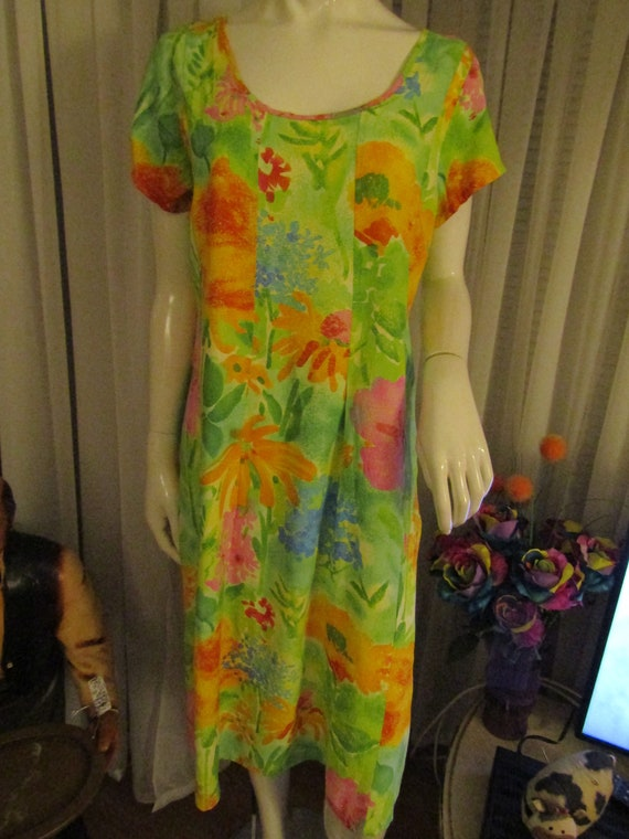 1980's/1990's Ladies Bright FLORAL/Tropical Print