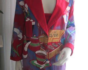 1980's/90's Ladies Red HAND PAINTED Jacket by Kolorway U S A
