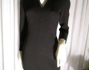 On SALE -------Vintage Ladies Black St. John Evening DRESS by Marie Gray