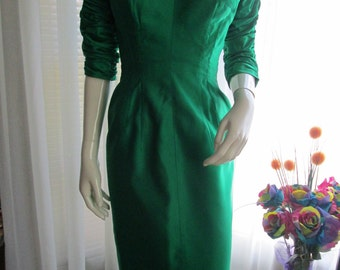 On Sale-------------1950's Ladies Emerald Green Satin PENCIL DRESS by Paula Lynne of California