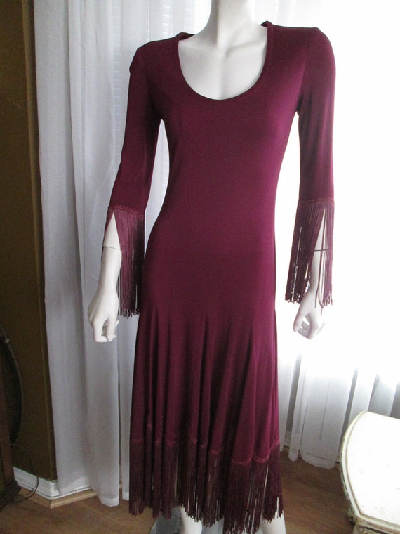 Vintage AYAKO Design DRESS in Wine Color With Frin