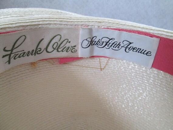1970's/80's Cream Straw Ladies Fedora Hat by FRAN… - image 5