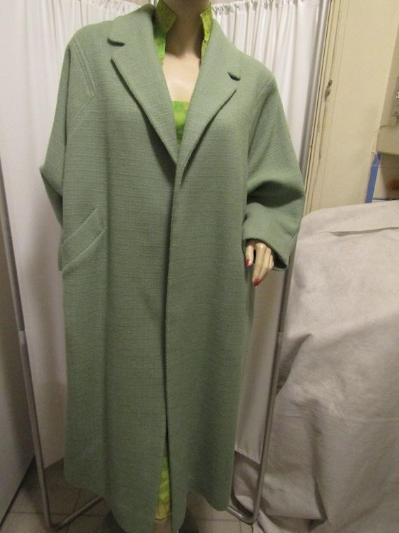 1960's Ladies Light GREEN Wool COAT-----No Label/S