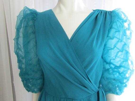 Vintage Turquoise Blue Big PUFF SLEEVE Semi-Fitte… - image 4
