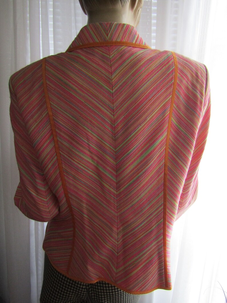 1990/'s Ladies Long Sleeve Orange Pink Green White Polyester STRIPED JACKET By Escada