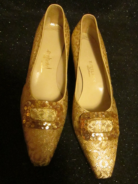 1960's Ladies Gold Brocade With Gold Sequin Buckle