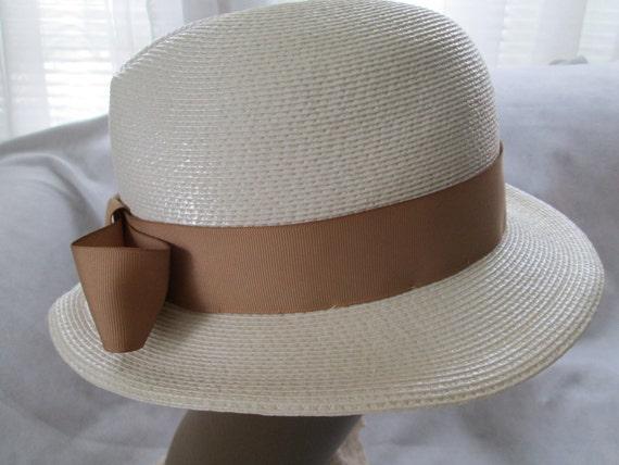1970's/80's Cream Straw Ladies Fedora Hat by FRAN… - image 3