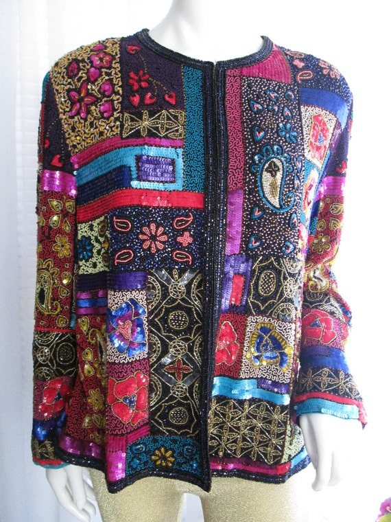 1980's Ladies Silk Multi-Colored Patchwork Style S