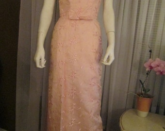 Late 1950's to 1960's PINK Sleeveless SILK Formal--------No Label
