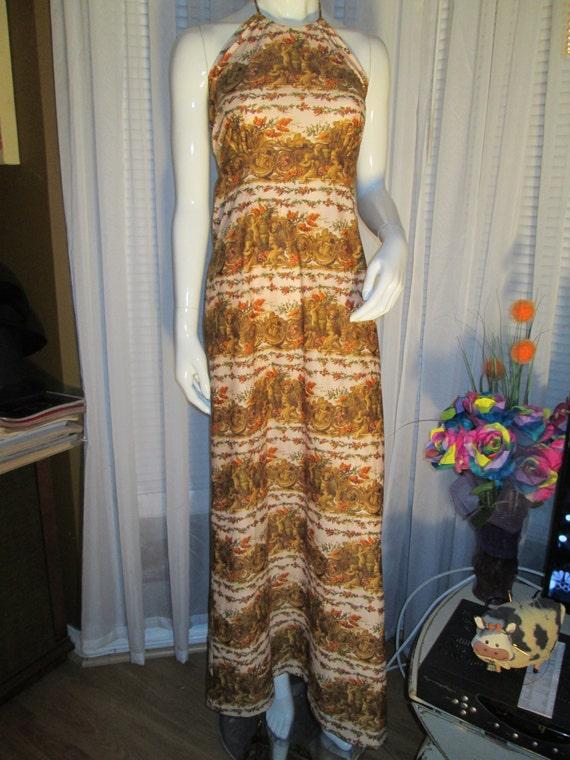 1970's Ladies HALTER Top DRESS in Cherub Print by