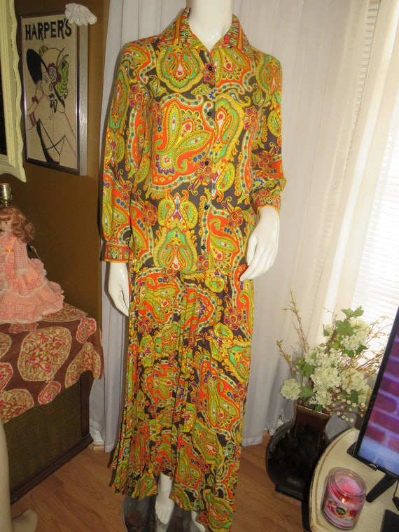 1970's Colorful Abstract BLOUSE Pleated PANT Set B
