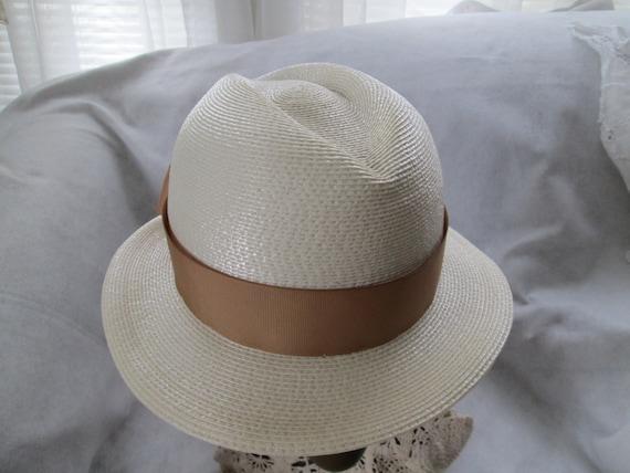 1970's/80's Cream Straw Ladies Fedora Hat by FRAN… - image 1