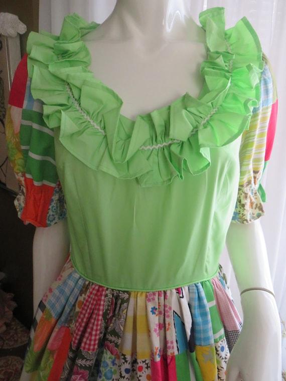 1960s' Colorful PATCHWORK Gathered DRESS----No La… - image 2