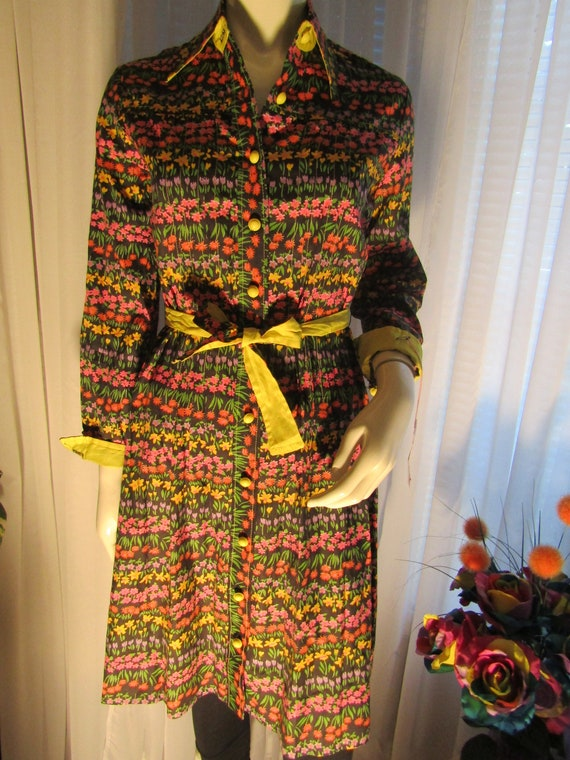 1970's Ladies Sizes 8 & 6 Long Sleeved Cotton FLOR