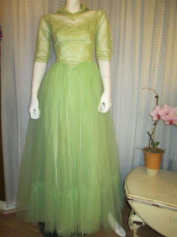 1940's Ladies Mint GREEN FORMAL------No Label