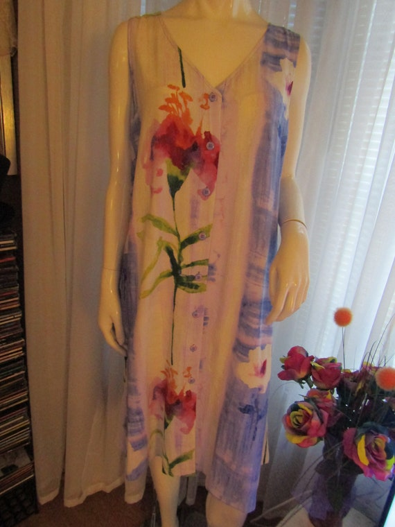 1980's/1990's Sleeveless Front Buttoned Ladies Flo