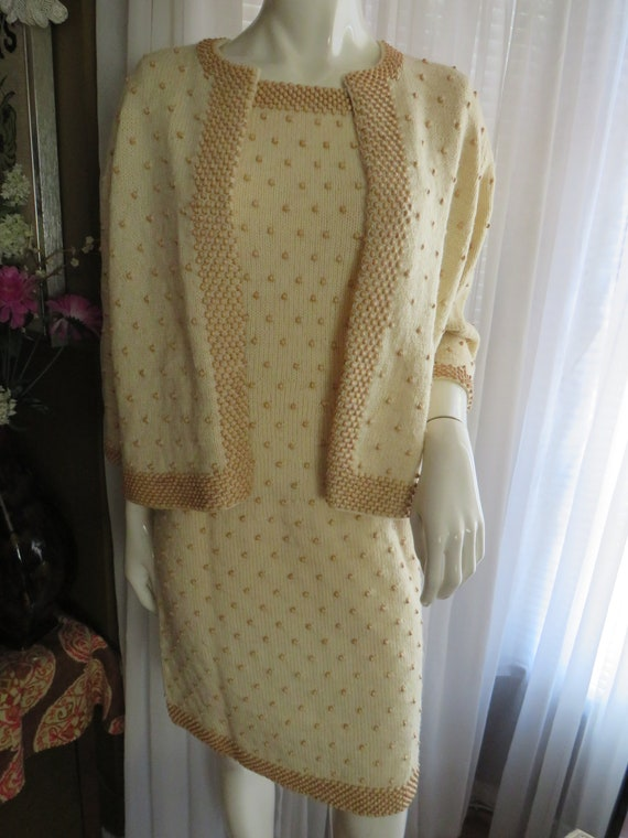 1950s'/1960s' Beige/Tan CROCHET/BEADS Dress Set---