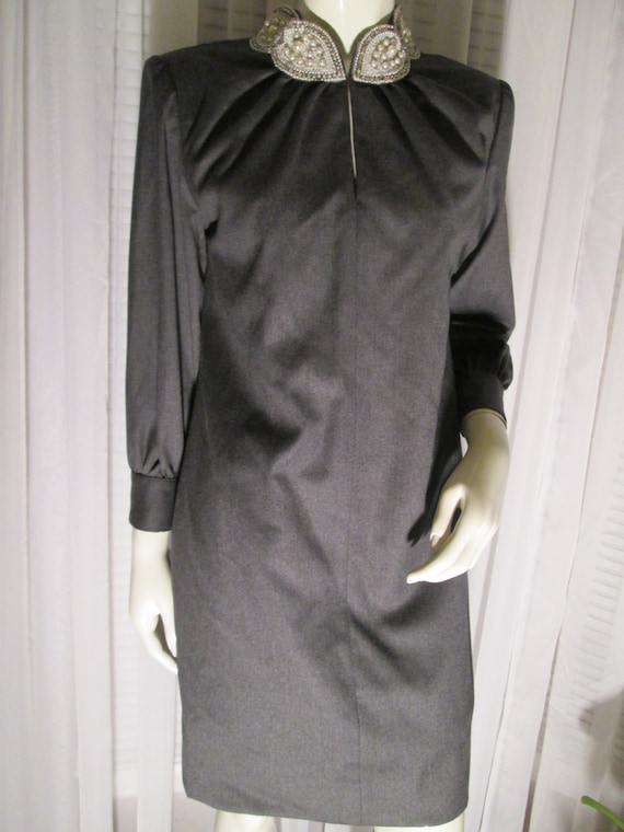 1960's Ladies Gray and Pearl Collar Dress by WILLI