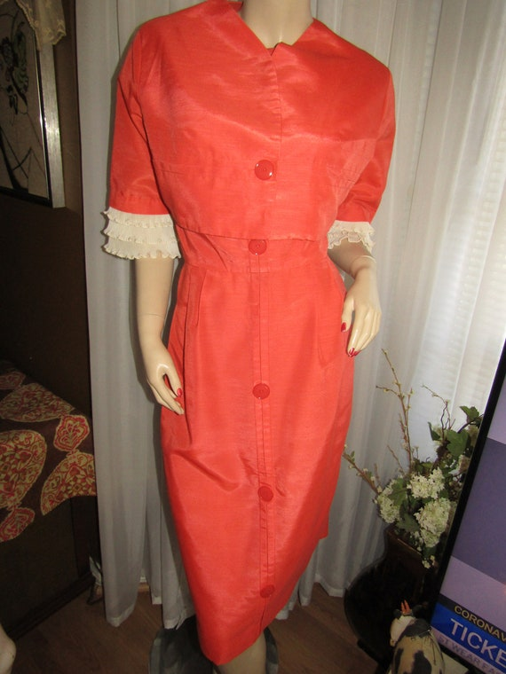 1950's Tangerine/Orange/Beige (two-piece) DRESS/JA