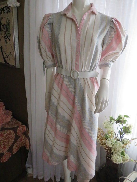 1960's Ladies STRIPED Puff Sleeved DRESS By Pea Pa