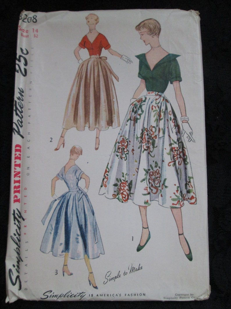 1950 Simplicity Pattern Misses Cocktail BLOUSE and SKIRT---Size 14