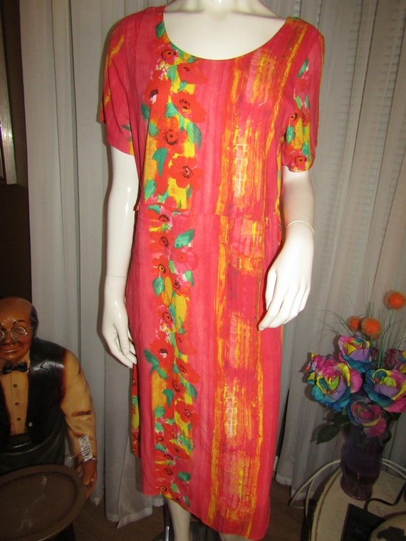 1980's/1990's Ladies Neon TROPICAL Print DRESS By