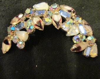 Vintage Half Moon Shape Multiple Stones Brooch---no maker