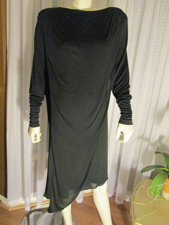 1980's Ladies Black Draped Panels Silk Knit Dress