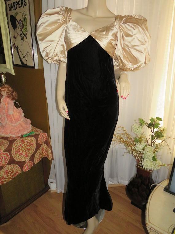 Vintage Formal Black/Beige BILLOWY  Sleeve DRESS B