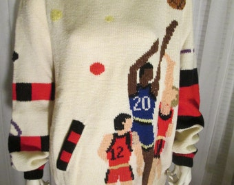 1990's Man Graphic Pullover Wool Sweater with B B A Championship on Back