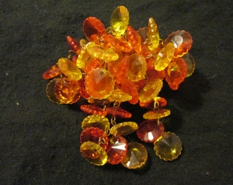 1960's Ladies Yellow/Orange Clustered GLASS BROOCH---No Signature