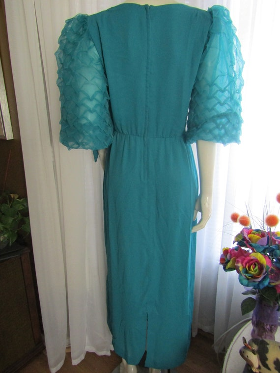 Vintage Turquoise Blue Big PUFF SLEEVE Semi-Fitte… - image 2