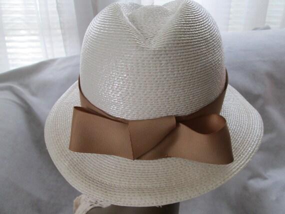 1970's/80's Cream Straw Ladies Fedora Hat by FRAN… - image 4