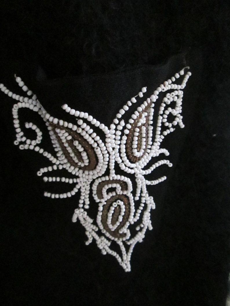 1960/'s Black MOHAIR White Beaded Pocket DRESS-----No Label