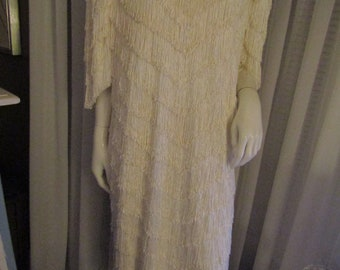 Vintage Ladies Off WHITE FRINGE Dress by Nightworks Size 18