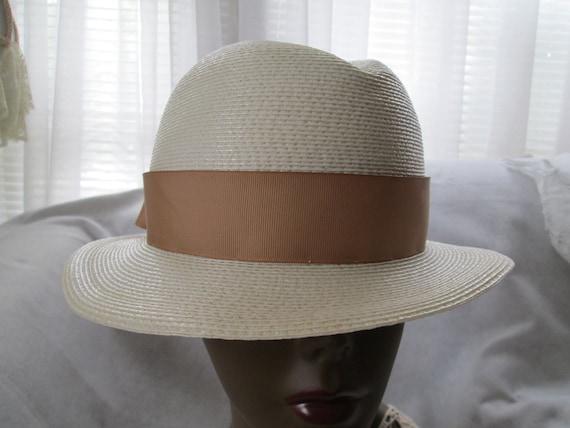 1970's/80's Cream Straw Ladies Fedora Hat by FRAN… - image 2