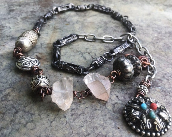Boho quartz necklace and bracelet wrap | raw quartz and silver beads, tribal gypsy (adjustable)