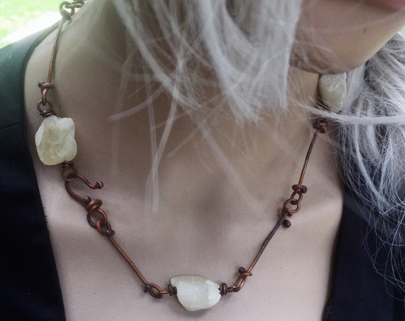 Natural yellow jade and copper necklace | raw stone necklace