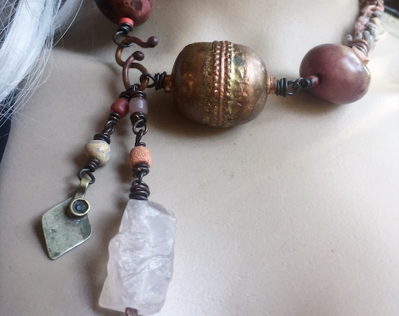 Rustic boho necklace with rose quartz, African copper bead, braided sari silk