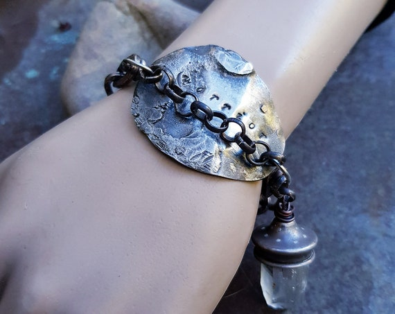 Warrior Bracelet | Raw quartz, distressed chain, stamped metal, rustic bracelet, had stamped, meaningful bracelet